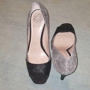 Vince Camuto Peep Toe Glitter Heels